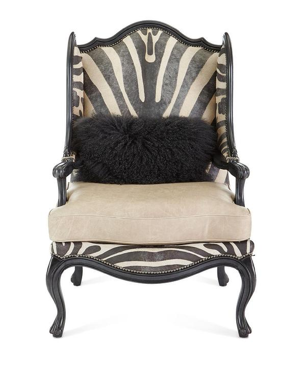 Massoud Wilder Leather Zebra Wing Chair