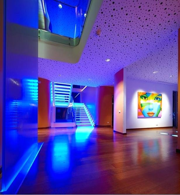 Modern Home Interior Design With Colorful Led Lighting Inc