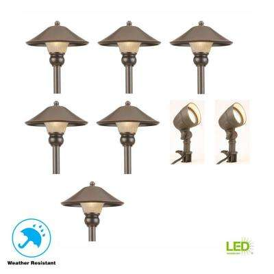 Low-Voltage Bronze Outdoor Integrated LED Landscape Path Light