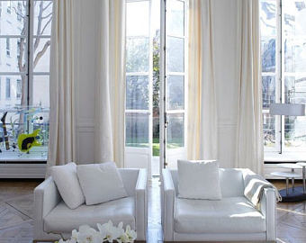 Two pairs (4 panels) Extra long curtains, rod pocket, two story drapes,  off-white linen curtain panels, ivory linen panels,