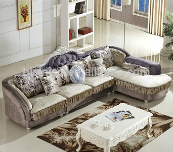 Cloth living room sofa set, Wood frame corner sofa, Post-modern sectional  sofa