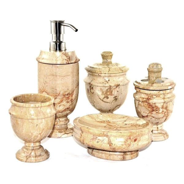 Shop Nature Home Decor Sahara Beige Marble 5-Piece Bathroom