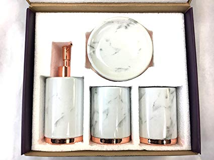 Amazon.com: WPM 4 Piece Bathroom Accessory Set. Marble look with