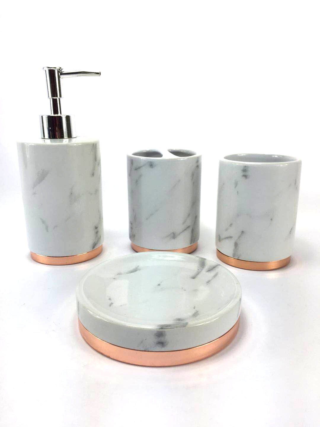 WPM 4 Piece Bathroom Accessory Set. Marble look with rose gold trim