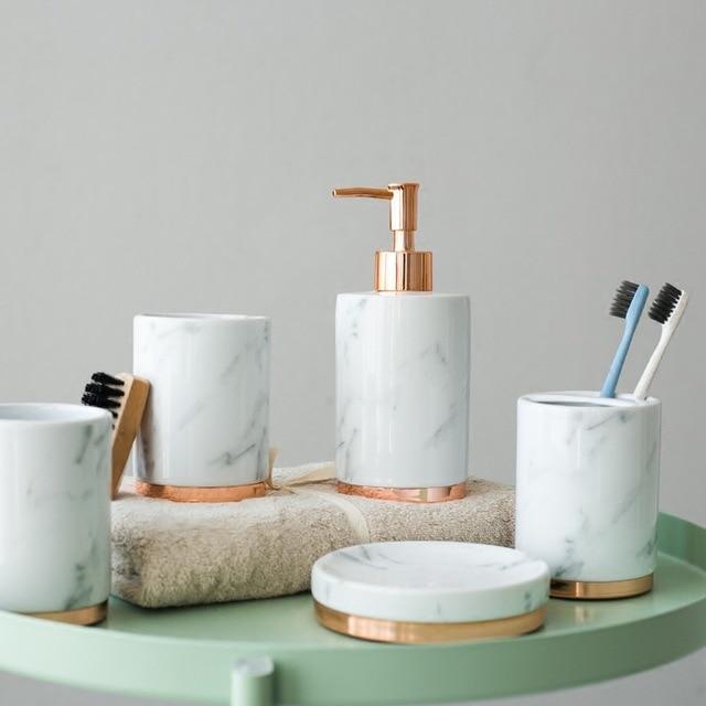 5pcs fashion marble bathroom accessories set Household Wash brush