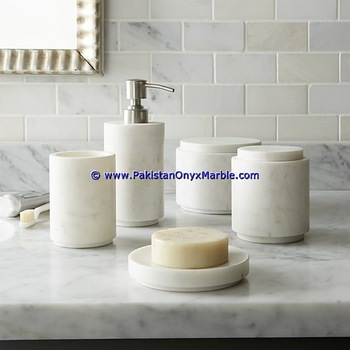 Best Quality Marble Bathroom Accessories Set Ziarat White Carrara