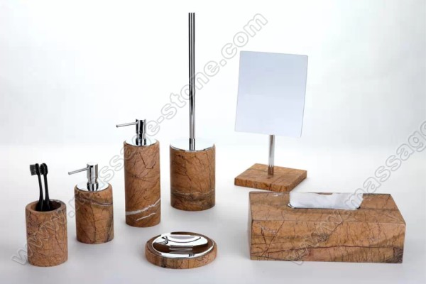 Real essence of beautiful marble bathroom   accessories set