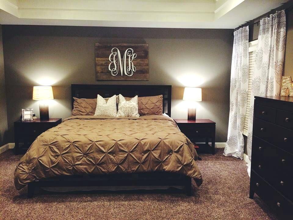 Pinterest Bedroom Wall Decor Neutral Bedroom With Pallet Monogram For Our  Home Within Master Bedroom Wall Decor Renovation Pinterest Bedroom Wall  Decor