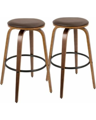 Porto Mid-Century Modern Bar Stools, Walnut and Brown, Set of 2