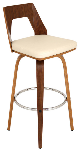 Trilogy Mid Century Modern Swivel Barstool in Walnut Wood With Cream PU  Fabric