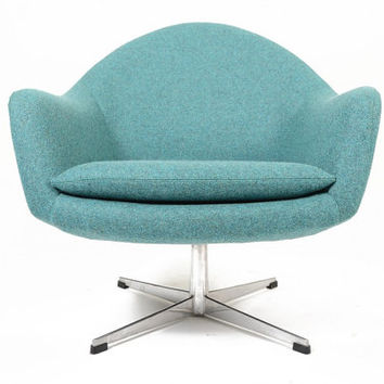 Danish Mid Century Modern Teal Swivel Overman Style Lounge Chair