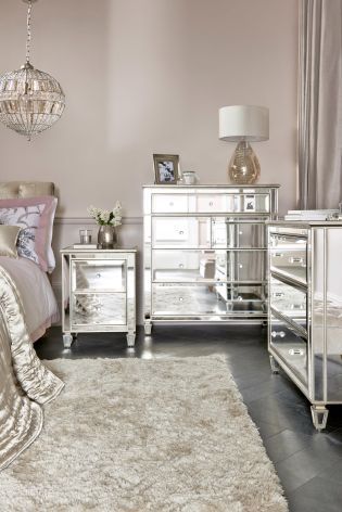 Add luxury to the room with the mirrored bedroom furniture