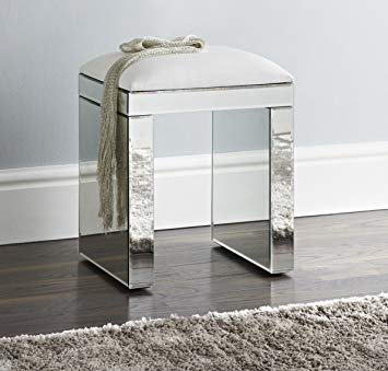 DOWNTON INTERIORS ANTIQUE SILVER MIRRORED GLASS DRESSING TABLE STOOL