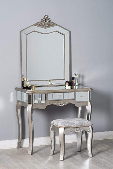 Mirrored Glass Dressing Table Stool French Style Chic Antique