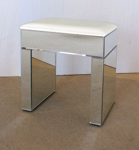 Venetian Mirrored Dressing Table Stool White Top - Buy from the