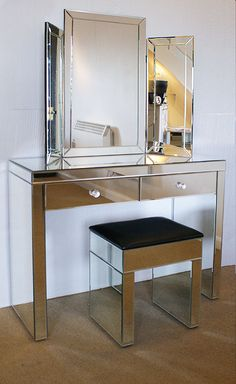 Mirrored Venetian Glass Half Moon Dressing Table With Mirror & Stool