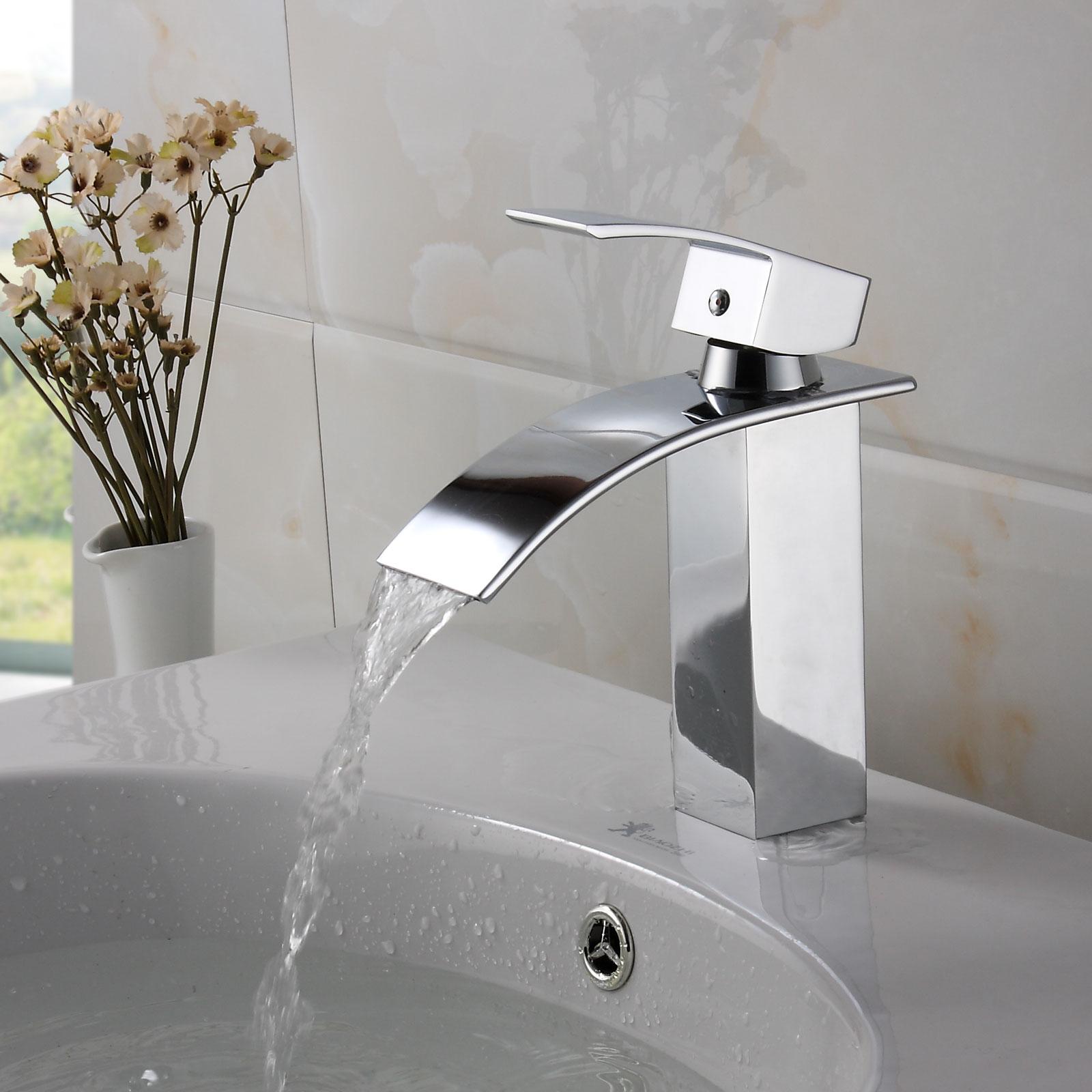ELITE Modern Bathroom Sink Waterfall Faucet Chrome Finish 8803C Bathroom  sinks, stone sink,kitchen sink,Stainless Steelsink, bathroom, sink, glass  sink,