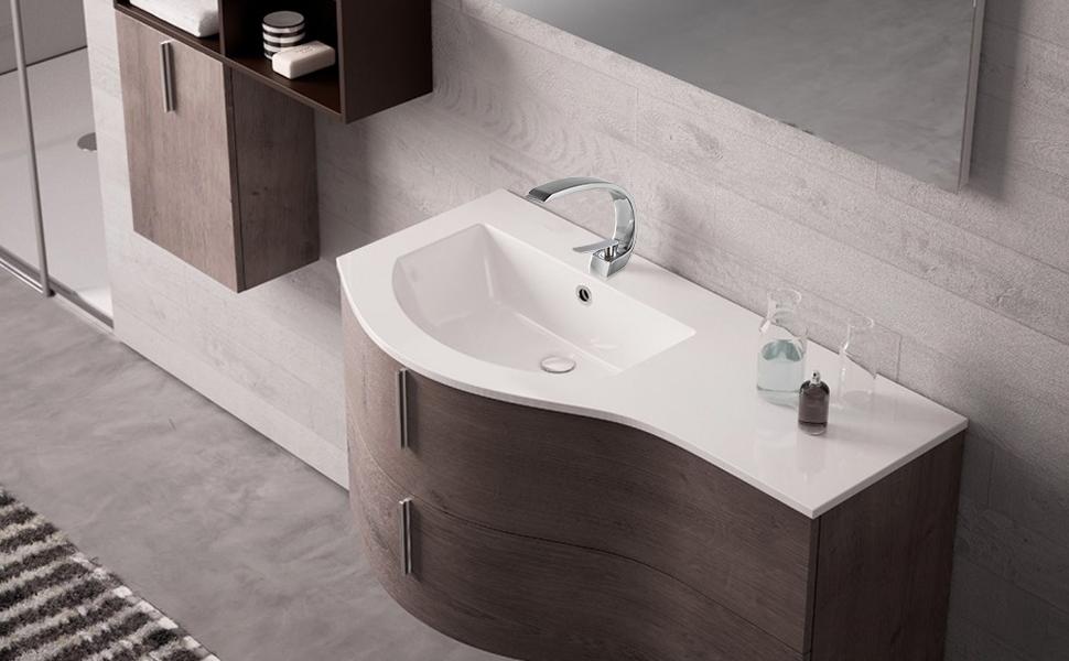 Fapully Modern Bathroom Vessel Sink Faucet Long Curved Spout Single Handle  Vanity Faucet,Brushed Nickel