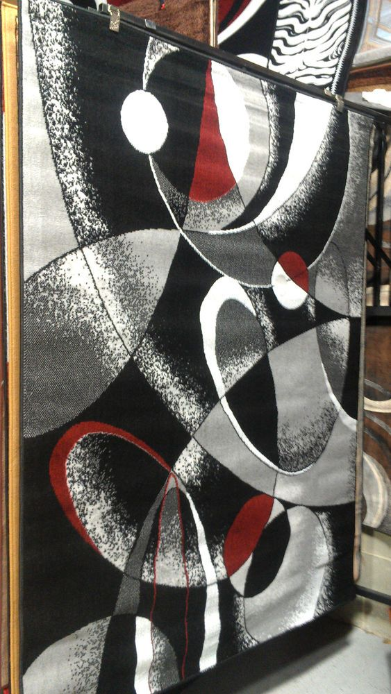 Abstract Contemporary 5x8 Red Black White Gray Area Rug Modern Carpet # Contemporary