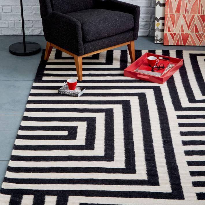 Modern black and white rugs decor ideas