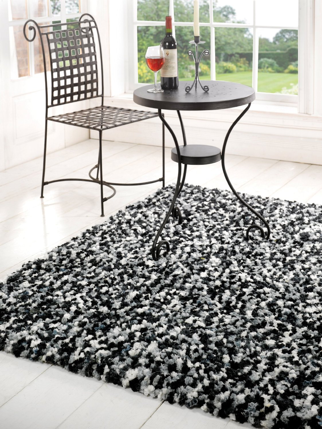 Shag Black And White Rugs