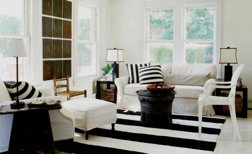 Modern black and white striped rug for living room to decorate homes
