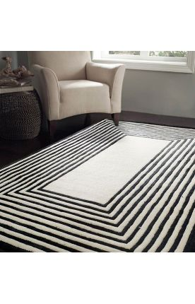 Rugs USA Satara Striped Border Black Rug Modern, home decor, interior design,  style, decor, pattern, black and white, area rugs, house, home.