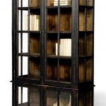 Unique and creative modern black   bookshelf with doors