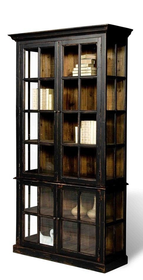 Modern Black Bookcase Distressed Finish Rustic Solid Wood distressed wood  and metal bookcase