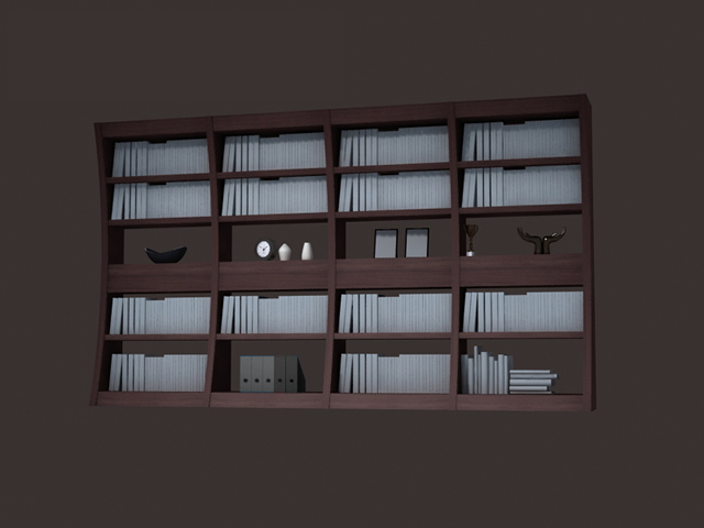 Highly detailed modern bookcase free 3d-model available in 3dsmax and vray,  no textures included, arched wooden book display rack, books and ornaments.