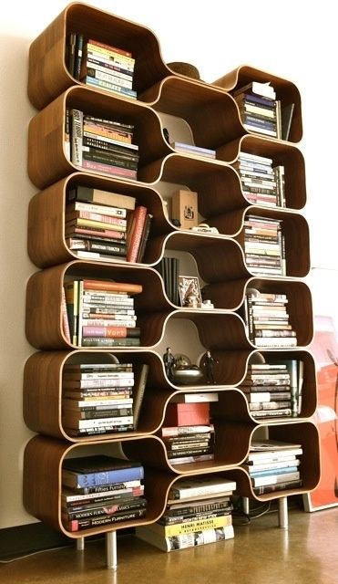 Stylish Bookcase Design in Various Models : Amazing Mid Century Modern  Bookcase Design With Some Detached Rooms Countain Many Stacked Books .