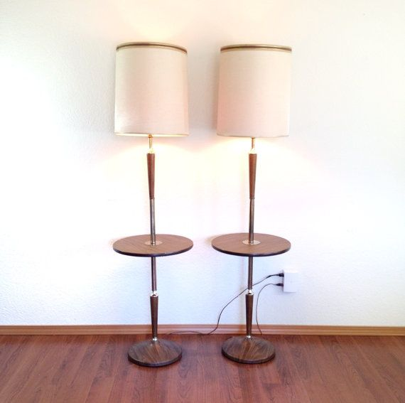 pair of vintage floor lamps with attached table. lamp & table combo