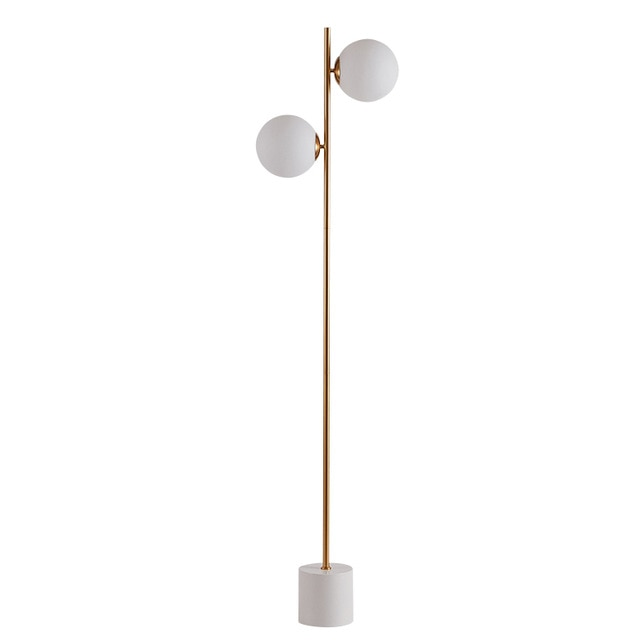 Modern Floor Lamp 2 head marble base Coffee Table Standing Light