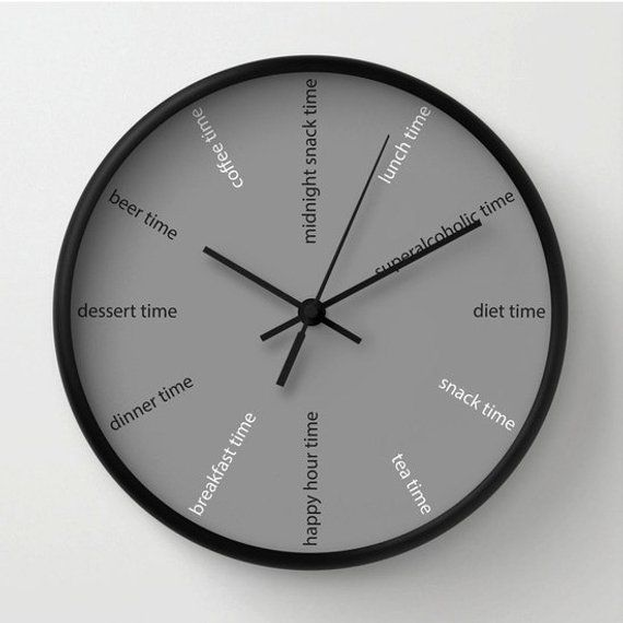 Kitchen wall clock, fun clock, modern wall clock, diet clock , grey  decorative for bars , restaurant