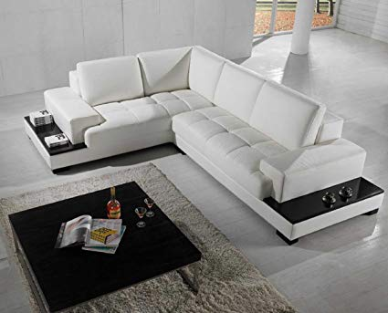 Image Unavailable. Image not available for. Color: Vig Furniture T71 Modern  Leather Sectional