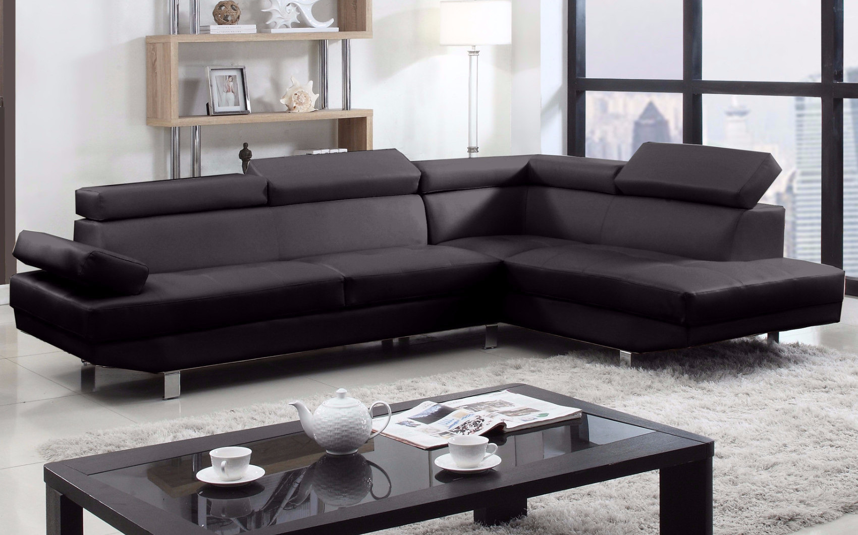 2 Piece Modern Bonded Leather Right Facing Chaise Sectional Sofa -  Traveller Location