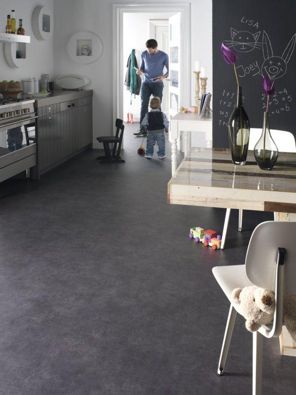linoleum flooring - basement Novilon Fusion Fusion 5704 Lava voor  bespreekkamer | ° Eldhús ° | Flooring, Kitchen flooring, Linoleum flooring