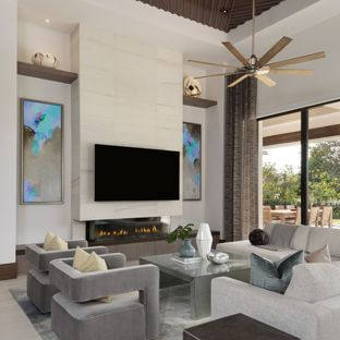 Example of a large minimalist open concept porcelain floor and beige floor living  room design in