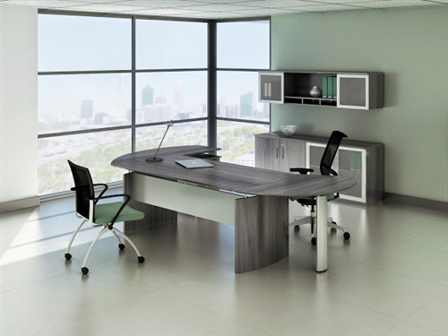 Mayline Medina Series 6 Piece Modern Office Furniture Set with Gray Steel  Finish