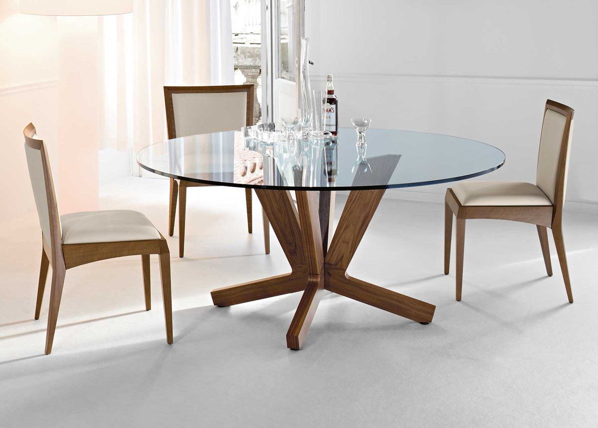 Dining Tables, Gorgeous Modern Round Dining Room Tables 6 Glass Table  Contemporary Top Set 4