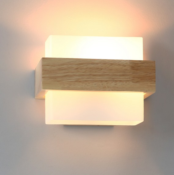 Creative Wooden Glass Wall Sconce Simple Modern LED Wall Light Fixtures For  Bedroom Wall Lamp Home