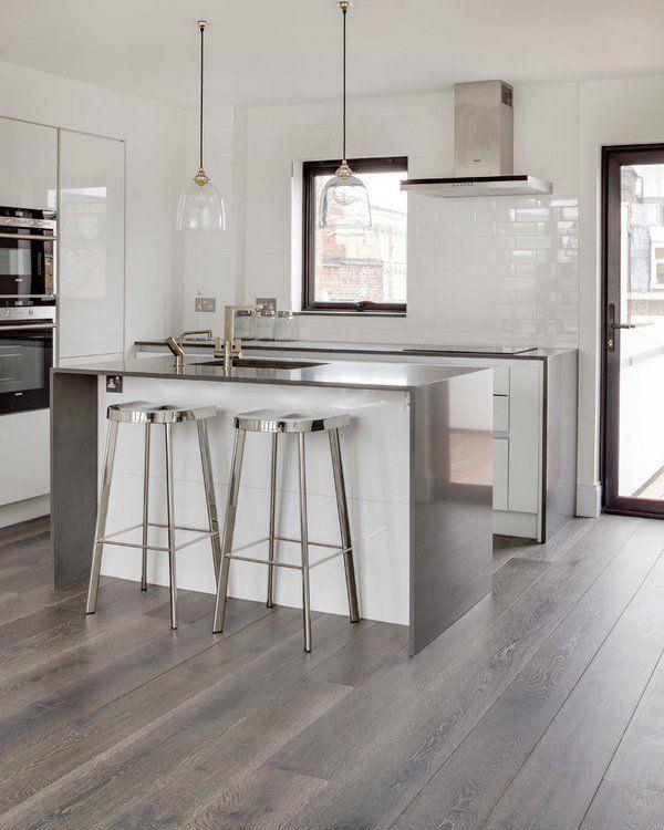 grey hardwood floors ideas modern white kitchen design stainless
