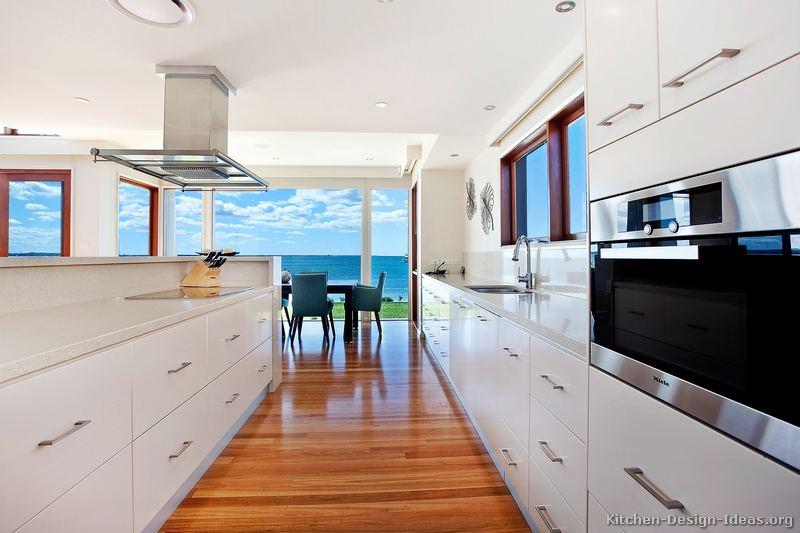 Modern white kitchen wood floor - lisaasmith.com