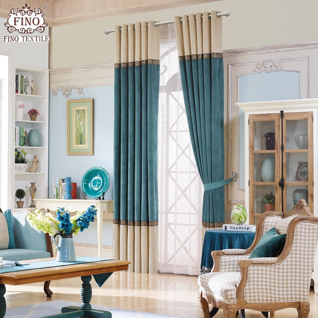 Modern Solid Window Curtains For Living Room Teal Curtain Fabric