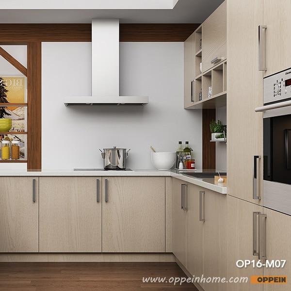 Oppein Modern Light Wood Grain Kitchen Cabinet (OP16 M07)-in Kitchen