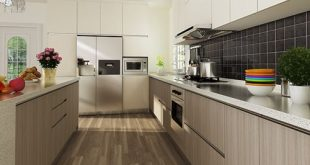 Modern Wood Grain Melamine Kitchen Cabinet OP14-M06