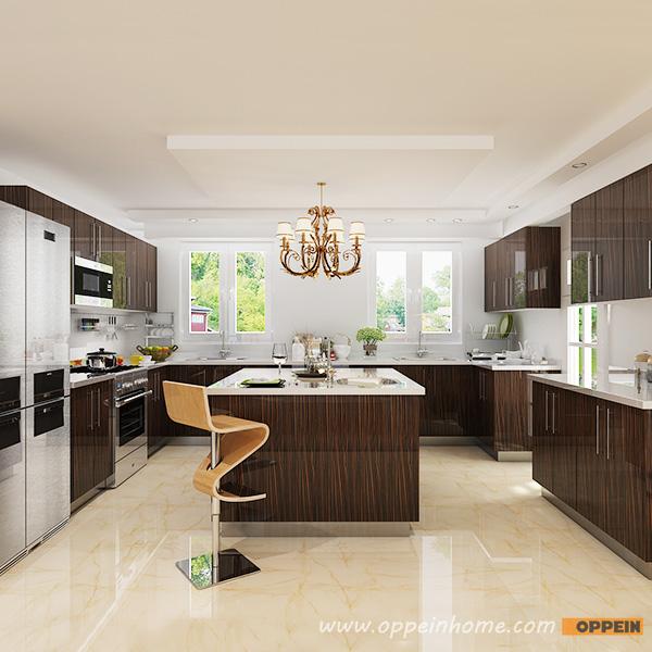 OPPEIN Kitchen in africa » OP15-HPL07: Modern High Gloss Wood Grain