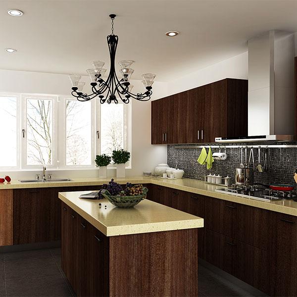 Kenya Project Modern Wood Grain PVC Kitchen Cabinet - OPPEIN One