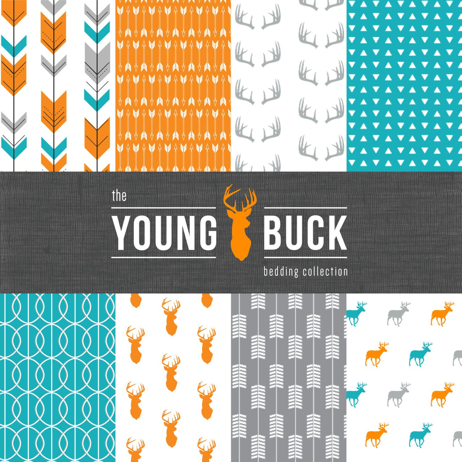 The Young Buck Crib Bedding Set - Modern Woodland Custom Crib Bedding -  Blue/Orange/Grey - Choose your fabric - CozybyJess Exclusive by CozybyJess  on Etsy