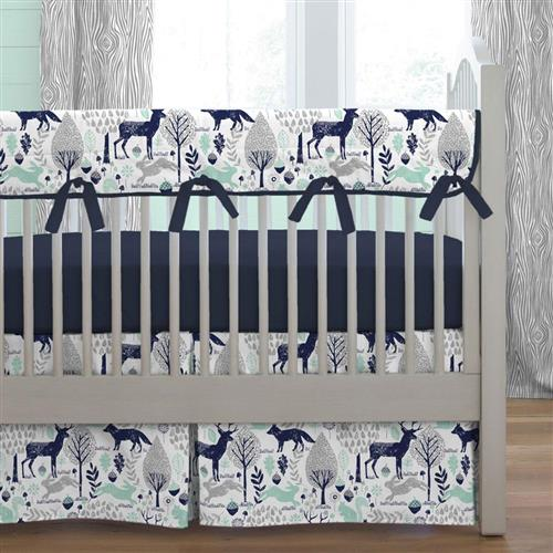 Shabby Chenille Crib Bedding · Navy and Mint Woodlands Crib Bedding